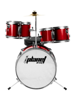 Planet Baby - 3 Pcs Drumset In Metallic Red