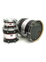 Spaun Drum Co. Custom 3pc-Black & Silver Stripes