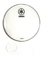 "Yamaha N77024051 - Pelle Per Grancassa Da 22"" Smooth White Con Logo YAMAHA NEW Nero - 22"" Smooth White Bass Drumhead W/NEW YAMAHA Black Logo"